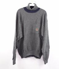 Vtg 90s Tommy Hilfiger Mens Large Lambswool Lion Crest Turtleneck Sweater Gray
