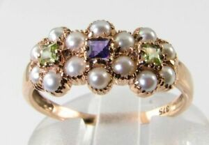 SUFFRAGETTE 9K 9CT ROSE GOLD AMETHYST PERIDOT PEARL 3 DAISY ART DECO INS RING