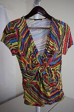 Cable & Gauge Rayon Blend Multi-Colored Cap Sleeve Blouse Size - Medium