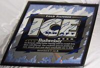 1993 Budweiser Bud Ice Draft Beer Anheuser Busch Inc St Louis MO Bar Mirror Sign
