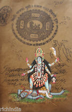 Hindu Goddess Kali Kalika Water color Painting Art Artist India Antique Vintage