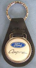 Vintage White Ford ASPIRE Black Leather USA Keyring Key Fob Key Holder