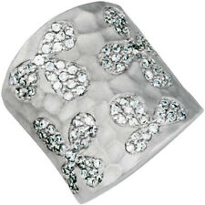 STERLING SILVER FLOWER RING WITH CUBIC ZIRCONIA