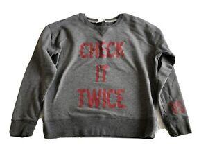 VICTORIA SECRET Fleece Pullover Sweatshirt Check it Twice holiday Christmas Med