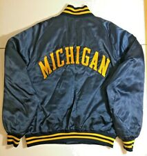 Vintage 80s University Michigan Wolverines Embroidered Jacket XL Blue Football