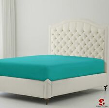 EASY CARE TEAL NON IRON EXTRA DEEP FITTED BED SHEETS DOUBLE SIZE