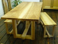 BESPOKE Handmade Olive Ash Dining table and Benches / Hardwood furniture