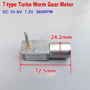 Micro 7-Type Metal Gearbox Gear Motor DC 3V 6V 7.2V 360RPM Turbo Worm Long Shaft