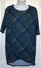 LuLaRoe Irma Top Tunic Shirt Size XXS Blue Yellow