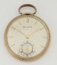 Vintage Bulova Open Face 10K Rolled Gold Pocket Watch 17AH Full Working Order