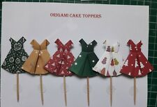 HANDMADE 12 CHRISTMAS DRESS CAKE TOPPERS / PIX / PICKS. GREAT FOR CUPCAKES