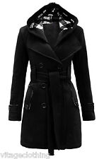 Women Check Hood Duffle Style Hooded Fleece Comfortable Belted Long Coat 007 Black 16