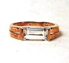 WHITE QUARTZ ETCHED SIGNET-STYLE ROSE GOLD OVER STERLING SILVER RING SIZE 7