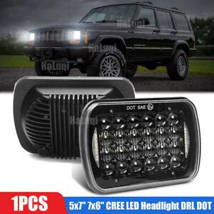"5x7"" 7x6"" CREE LED Headlight DRL DOT For Jeep Wrangler YJ Cherokee XJ 1986-1995"