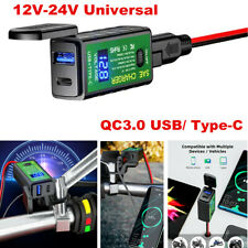 Dual Port USB /Type-C Fast Motorcycle Charger for Cell Phone iPhone Tablet GPS