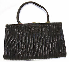 Art Deco Black Leather Purse w/ Avant Garde Tree Bark Texture & Brass Hardware