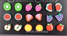 9 pair fruit stud earrings kiwi strawberry grapes watermelon apple orange set