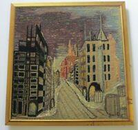 VINTAGE FIBER WALL ART PAINTING SCULPTURE ABSTRACT RETRO MODERNISM CITY URBAN