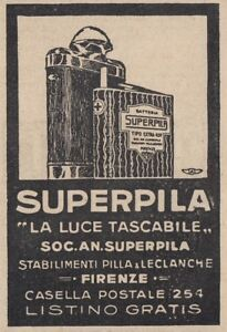 Z3636 Superpila The Light Pocket-Size - Advertising D'Epoca - 1926 Old