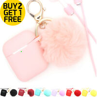 For Apple AirPods 1/2 Cute Silicone Charging Case Cover Keychain Fur Ball Pompom