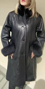 Black Leather Jacket  Coat  Fox Fur Trim  Collar Cuff  Vtg Tibor