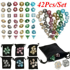 42Pcs Polyhedral Dice Set for Dungeons Dragons D20 D12 D10 D8 D6 D4 Games + Bag