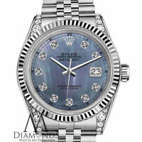 Rolex 26mm Datejust Tahitian MOP Mother of Pearl Diamond 18K White Gold SS Watch