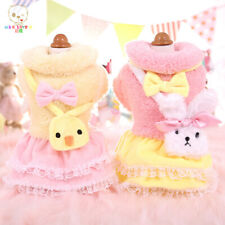 Small Dogs Winter Dress Sweety Chick Bunny Bow Coat Yorkshire Maltese Clothes