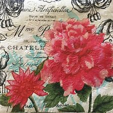 2 Paper Napkins Decoupage Vintage Floral Script Embossed Beverage Craft Cypress