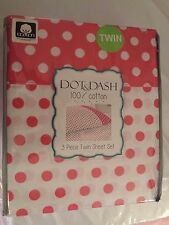MIP 3 Pc Twin Sheet Set Dot & Dash Pink and White Polka Dot Sheets 100% Cotton
