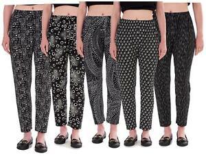 Ladies Trousers Elasticated Printed Tapered Harem High Waist Women Regular Pants