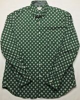 5271 J CREW Mens XLarge Button Up Down Shirt Long Sleeve Green Diamond Geometric