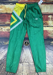 Mens XL Umbro Nylon Dazzle Pants Green Yellow Soccer Athletic Wind Track Pants