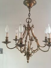 Vintage Antique Heavy Bronze Candle Chandelier Lighting 6 Arm Ceiling Light