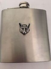 Fox Head R160 English Pewter Emblem on a 6oz Stainless Steel Hip Flask