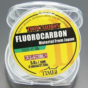 Top Fluorocarbon Fishing Line 50M 4.4LB-35.2LB Clear Leader Line Fresh/saltwater