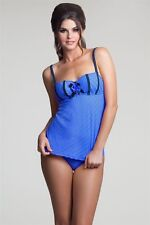 76bb3a72c8365 NWT BETSEY JOHNSON S designer tankini swimsuit blue rosettes $186 stunning  sexy