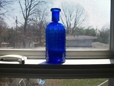 PRETTY COBALT BLUE HAND BLOWN LATTICE POISON 1890s ERA ALMOST 5 INCHES TALL
