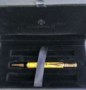 Parker Duofold Citrine Yellow Check 23k Gold Trim Twist Action Ball Pen