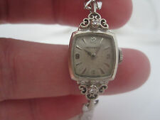 Women's Vintage MOVADO 14K White Gold 17J Diamond Accent Watch Not Running AS IS