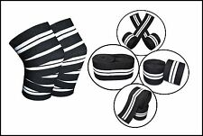 Power Lifting Knee Wraps Crossfit Training Squats Support Black/White Pair