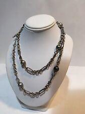 "RARE David Yurman 34"" Tahitian Pearl Figaro Necklace Sterling/18k Yellow Gold"