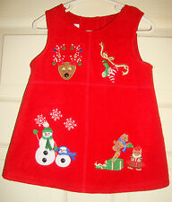 BONNIE/BABY~girl's~EMBROIDERED/SNOWMEN/REINDEER/RED/jumper/DRESS! (18/MO) NEW!