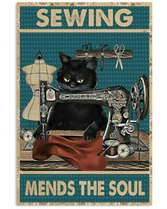 Cat Sewing Tin Sign Retro Kitchen Farm Bathroom People Cave Wall Metal Plate New