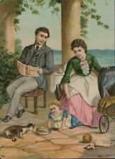 Victorian era print, Mother & Father with small girl, cat, doll, pram     JX2979