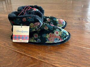 Dearfoams Women's XL 11 12 Floral Black Bootie Slippers
