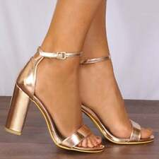 NUDE BEIGE PATENT PEEP TOES HIGH HEELED BLOCK HEELS STRAPPY SANDALS SHOES SIZE