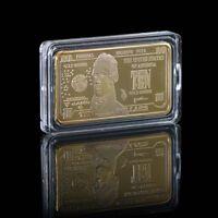 WR US $10 Ten Dollar American Novelty Banknote Money 24KT Gold Bullion Art Bar