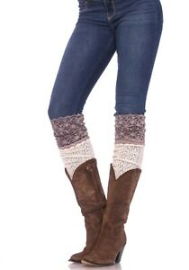 Leg Avenue Crochet Knit Over the Knee Slouch Socks  with Wide Lace Top One Size