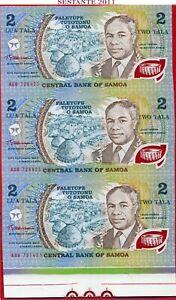 (com) *WESTERN SAMOA - 2 TALA 1990 Prefix AAB Uncut sheet 3 notes - P 31b - UNC